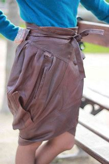 transforming a leather jacket into a skirt