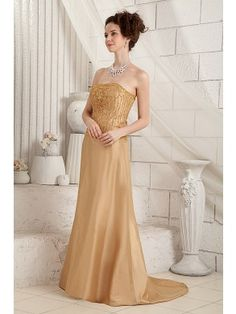 Gorgeous Sheath Strapless Sweep-Train Taffeta Beading and Sequins Mother of the Bride Dress MOB0170-Y