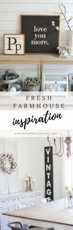 Fresh farmhouse inspiration from this Etsy shop! I love the cozy design of each space & of course the #handmadesigns :):) they totally take it over the top! #farmhousedecor #walldecor #rusticdecor #fixerupper #livingroomideas #diningroomideas