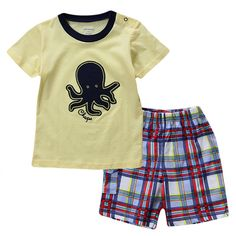 Sale 30% (8.99$) - 2015 New Lovely Octopus Yellow Baby Children Boy Pure Cotton Short Sleeve   Shorts Suit