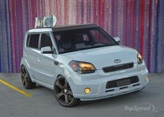 While the first customized suv presented at sema show was black the second one features a baby blue exterior by lux motorwerks. the antenna soul (. Kia Soul, Beast From The East, Baby Painting, Sweet Cars, Car Tuning, Cute Cars, Modified Cars, Maserati, Baby Blue