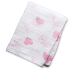 Hearts cotton muslin blanket wrap. Shop lulujo.com