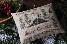 Merry Christmas / Primitive cross stitch pattern