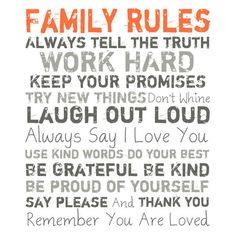 Family Rules Wall Art in Orange