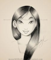 Mulan Portrait BnW by MoonchildinTheSky