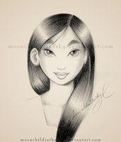 Mulan Portrait BnW by MoonchildinTheSky