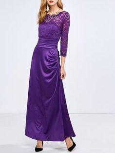 Lace Panel High Waist Maxi Dress