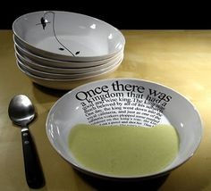 Love these soup bowls that are tilted so as you eat you get to see more of the picture or story. Would be great for kids too!