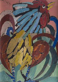 ARMANDO BALLONI - (1901 - 1975)    Título: Galo  Técnica: encáustica  Medidas: 57 x 37 cm  Assinatura: canto inferior direito  Data/Local: 1955