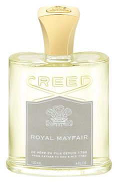 Creed Royal Mayfair - - Top: British gin, Jamaican lime, Scottish highland pine.- Middle: Duke of Windsor roses. - Base: Bahamian orange, Canadian cedar, Australian eucalyptus.