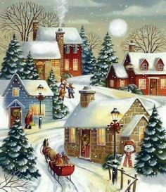 Autone Christmas Snow Scene DIY Full Diamond Embroidery Painting Cross Stitch Craft Home *** You could get added information at the photo web link. (This is an affiliate link). Christmas Past, Winter Christmas, Christmas Crafts, Christmas Decorations, Xmas, Winter Snow, Christmas Cookies, Christmas Ideas, Illustration Noel
