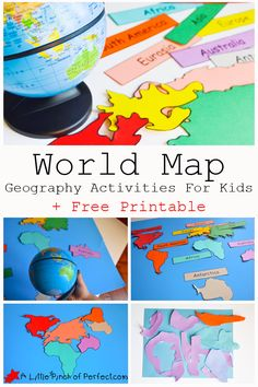 World Map Geography Activities For Kids + Free Printable World Map activities and free printable that can be used as coloring pages for the continents as well as labels for matching and reading Continents Activities, Geography Activities, Geography For Kids, Maps For Kids, Teaching Geography, World Geography, Activities For Kids, World Map Crafts, Free Printable World Map
