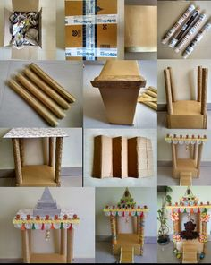 Temple or Mantap from waste. Best out of waste. Pooja Mandir, Festival Decorations, Diy Gifts, Temple, Art Projects, Triangle, Diy Tutorial, Creative, Battle
