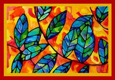 Explore warm and cool colors and glue drawing in these breathtaking leaf watercolor paintings. Rajat tehty esim. pullovärillä värjätyllä liimalla.