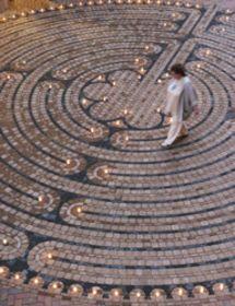 Walking meditation using a labyrinth.