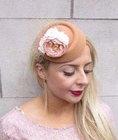 6b969f07f0915 Tan Beige Blush Pink Rose Flower Pillbox Hat Fascinator Hair Clip Races 4104