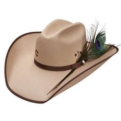 """Silverbelly Shantung Straw Hat with brown ribbon band perfectly adorned with a peacock feather and brown ribbon bound edge, 4"""" brim Limited Stock-Order could take up to 6 weeks"""