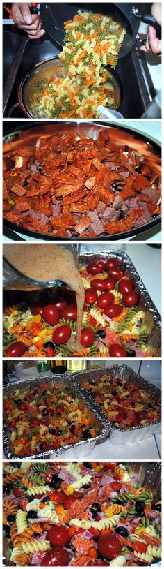 Pasta Salad Ingredients 2 – 7 oz packages of Hormel Pepperonis, cut in half and then in quarters 1 package – Cotto Salami, chopped (or any salami you like) 2 – 12 oz boxes of Rotini Pasta (I used T…