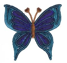 Sparkly Sequins Iron-ons - Medium - Blue Butterfly