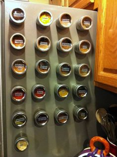 spice jars on fridge