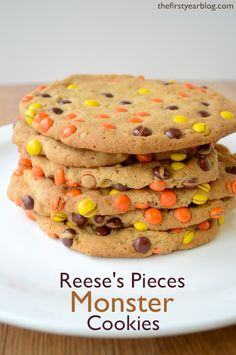 Reese's Pieces Monster Cookies | thefirstyearblog.com