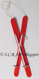 ~ S.C.R.A.P. ~ Scraps Creatively Reused and Recycled Art Projects: Popsickle Stick Ski Ornament