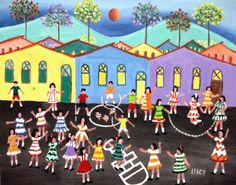 ARACY TEMA ALEGRIA DAS CRIANÇAS A VENDA COM AJUR SP (Painting),  50x40 cm por Arte Naif AJUR SP VENDEDOR E DIVULGADOR DA ARTE NAIF BRASILEIRA