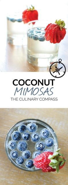 These Coconut Mimosas are a summery version of your favorite cocktail! #cocktaildrinks