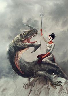 Dragon rider by Jacek Rudowski, via Behance