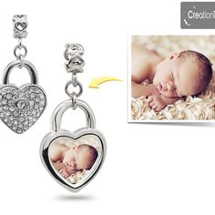 Personalized charm for any pandora bracelet mother's charm crystal heart