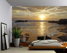 Sunrise Sea Ocean Wave Sunset Beach - Large Wall Mural, Self-adhesive Vinyl Wallpaper, Peel & Stick fabric wall decal