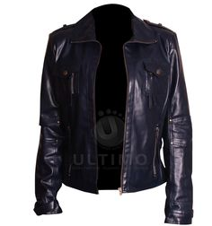 Navy Blue Women's Leather Jacket Jacket Features:Outfit type: Genuine Leather JacketGender: FemaleColor: BlackFront: Front Zip ClosureCollar: Shirt Style CollarLining: Viscose LiningCuffs: Zip CuffsPockets: Four pockets on Front & Two inside pockets