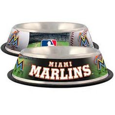 Miami Marlins Stainless Steel MLB Dog Bowl