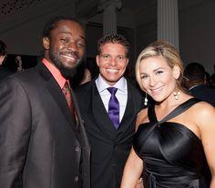 Kofi Kingston with TJ & Natalie Wilson National Friendship Day, Theodore James, Wwe Couples, Tyson Kidd, Total Divas, Wwe Divas, Wwe Superstars, Got Married, Girlfriends