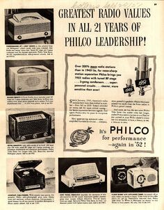 Greatest Radio Values In All 21 Years Of Philco Leadership!   1951