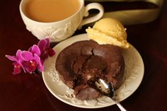 Molten Chocolate Cakes with Coffee Ice Cream. The batter for the cakes and the ice cream can be made a few days before a dinner party