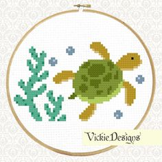 Sea Turtle Underwater Animals Seaweed Cute Cross Stitch Pattern PDF