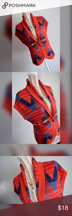 """🎀Chaps Sweater Vest🎀 Aztec print sweater vest cardigan by Chaps Denim. Size Medium. Orange, red, navy blue, blue, light blue, green, khaki.   Closure: 1 Toggle Button  Material: 74% Cotton 26% Polyester   Measurements  Bust: 40"""" lying flat, stretches to 48"""" Shoulder to Hem Length: 25.5"""" Chaps Sweaters Cardigans"""