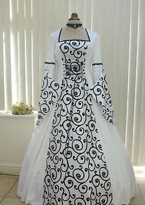 Gothic Medieval Renaissance Wedding Dress Masquerade Ball Gown 14 16 18