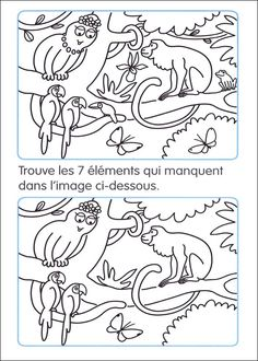 Jeux des 7 diff rences 39 animaux 39 gratuits imprimer pour enfants jeux des 5 diff rences - Jeux imprimer adulte ...