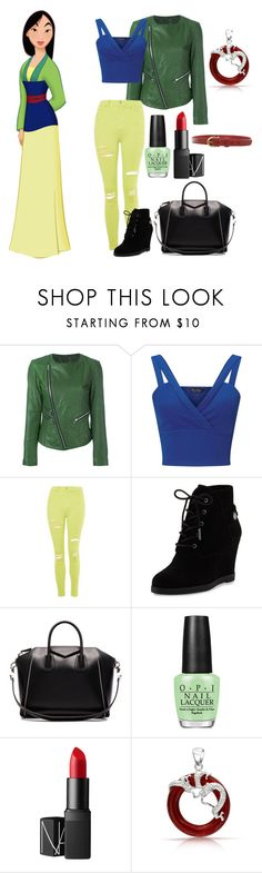 """Teen Mulan"" by isabelle-lightwood-ships-malec ❤ liked on Polyvore featuring Twin-Set, Miss Selfridge, Topshop, MICHAEL Michael Kors, Givenchy, OPI, NARS Cosmetics, Bling Jewelry and Etienne Aigner"