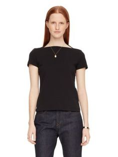 "everyday tee | Kate Spade New York FEATURES •100% cotton •short sleeve •boat neck  FIT •fitted tee •size s measures 24.5"" long from highest shoulder point •style # njmu6068 •Size: L •Color: Black & White"