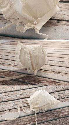 christening baby girl bonnet-baptism bonnet-cotton by MonikaVenika