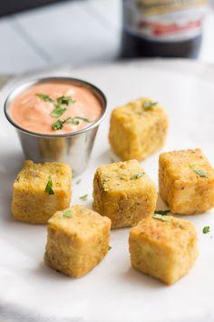 """Tofu """"Chicken"""" Nuggets with Sriracha Mayo"""