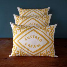 Custard Cream Printed Cushion, made in Scotland by Nikki McWilliams