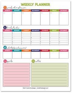 Printable Weekly Planner Weekly Planner // Free Printable to get your week organized