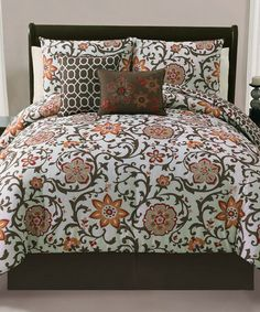 Take a look at this Brown Calista Reversible Queen Comforter Set by Victoria Classics on #zulily today!
