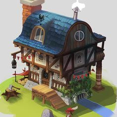 Little medieval fantasy house, it's still in rough colors so it's a bit sketchy around the edges.