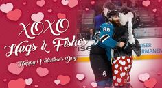 Celebrate Valentine's Day with some awesome cards created for hockey fans! Sorry if your team isn't listed here, but at least the puns are perfect from the other teams! Brent Burns, San Jose Sharks, Cool Cards, Hockey, Valentines Day, Celebrities, Hugs, Awesome, Sports