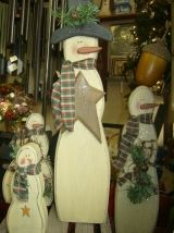 Primitive Wood Snowman Patterns | Primitive Wood Standing Snowman with homespun fabric scarf, large wood ...
